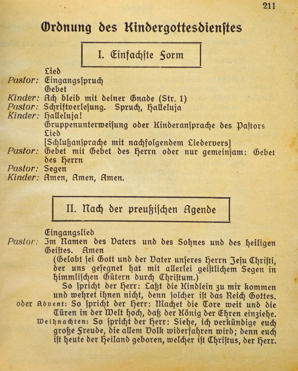 """Gottesdienstordnung nach der """"preußischen Agende"""""""