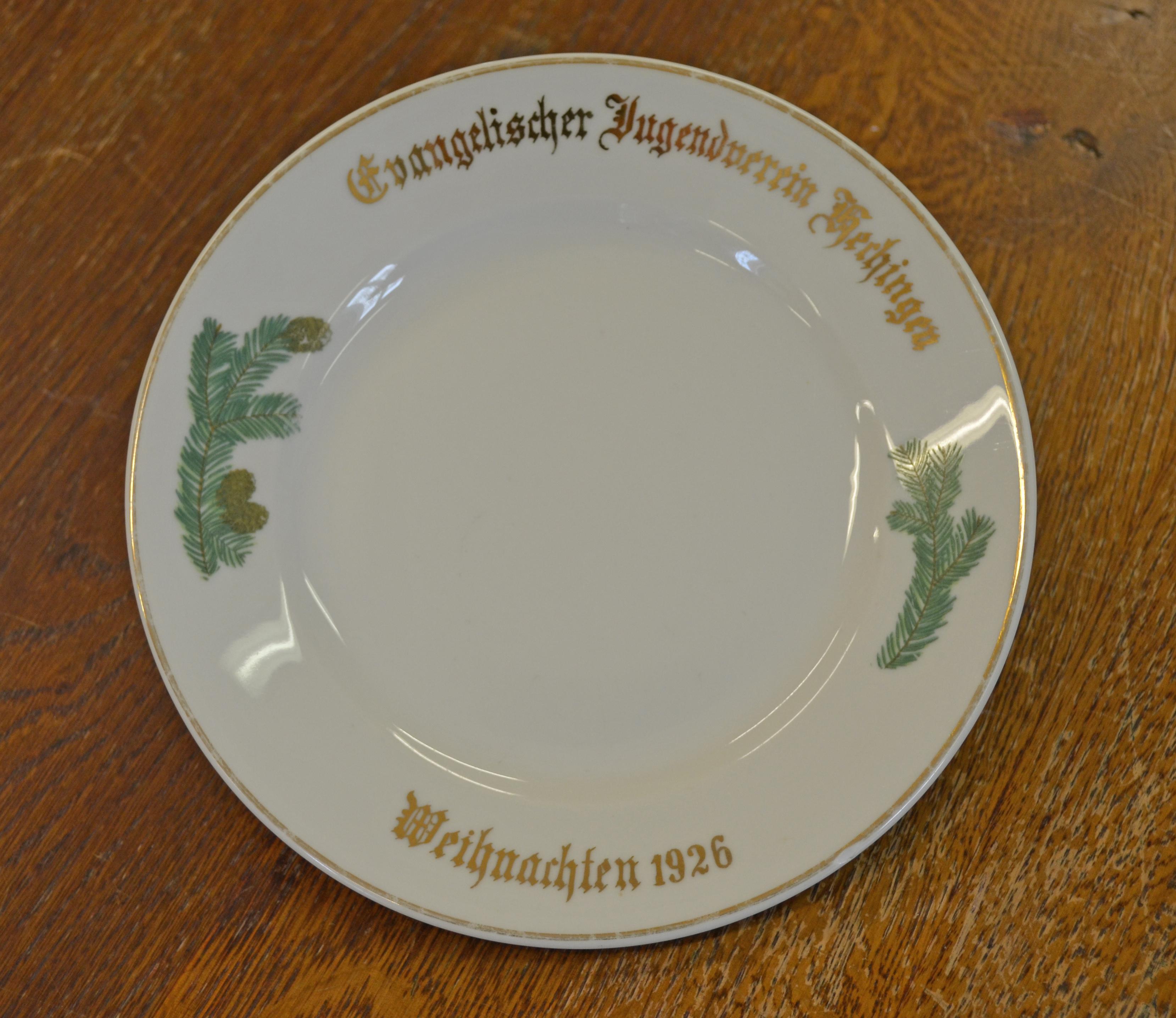Erinnerungsteller Evangelischer Jugendverein Hechingen 1926