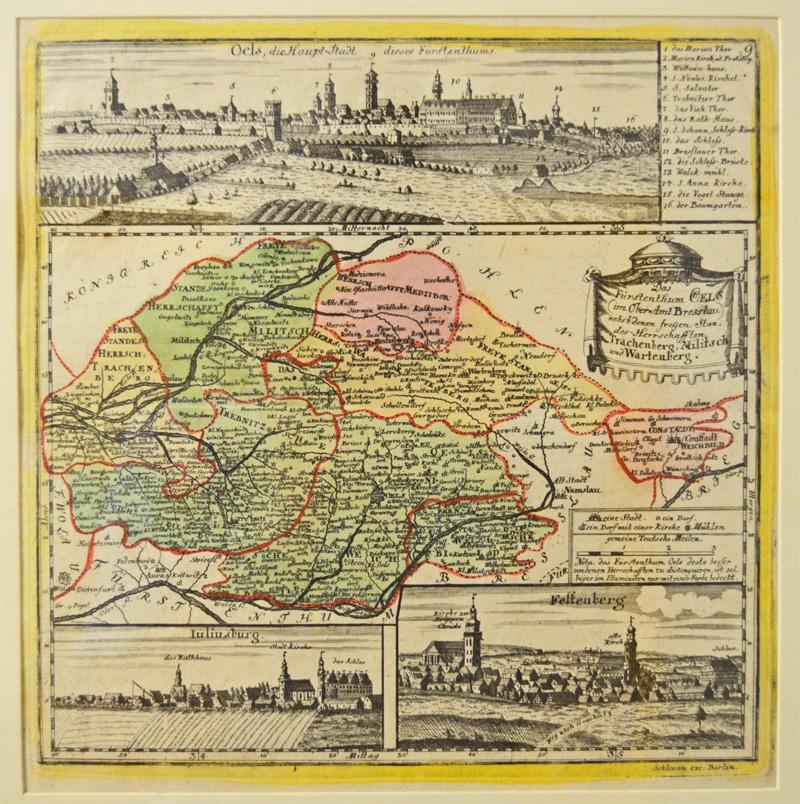 Historische Karte des Kreises Oels