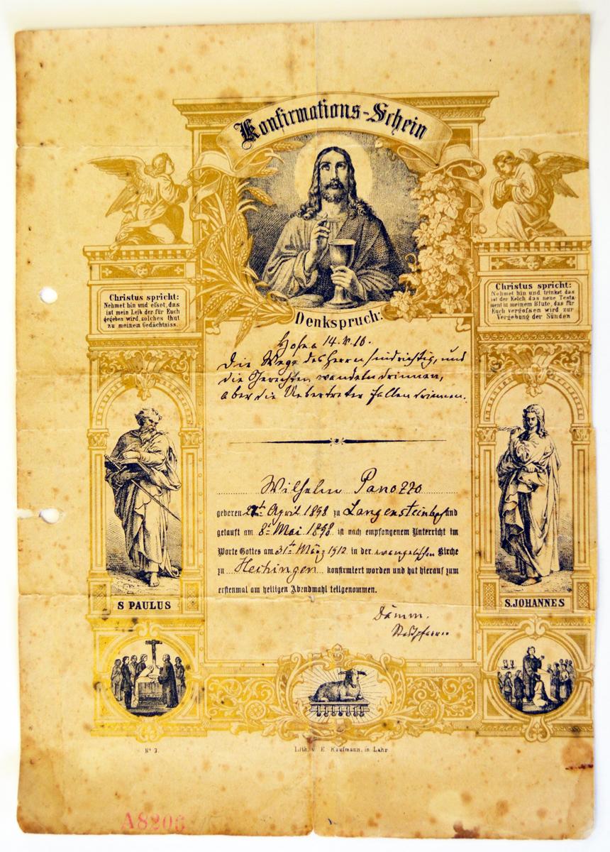 Konfirmationsurkunde 1912 von Wilhelm Panozzo aus Hechingen