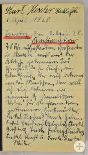 Tagebuch von Kurt Kessler aus Hechingen, beginnend mit dem Tag der Konfirmation am 1. April 1928